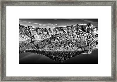 Reflection Of Wizard Island Crater Lake B W Framed Print by Frank Wilson
