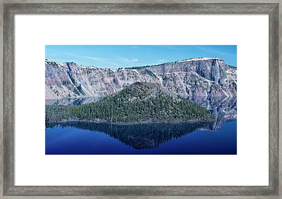 Reflection Of Wizard Island Crater Lake Framed Print by Frank Wilson