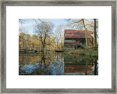 Reflection On A Grist Mill Framed Print