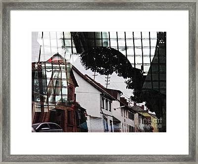 Reflection On A Small Delivery Truck Framed Print