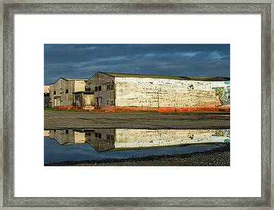 Reflection On Abandoned Building Framed Print by Greg Nyquist