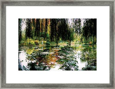 Reflection On Oscar - Claude Monet's Garden Pond Framed Print
