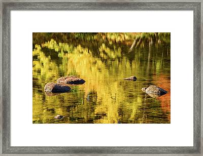Reflection On Saco River Framed Print by Michael Blanchette
