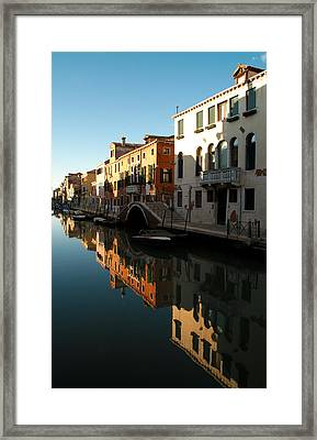 Reflection On The Cannaregio Canal In Venice Framed Print by Michael Henderson