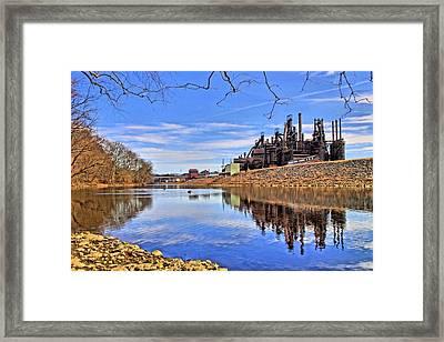 Reflection On The Lehigh - Bethlehem Pa Framed Print