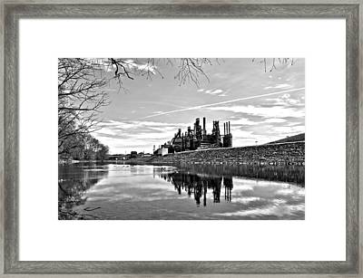 Reflection On The Lehigh Framed Print