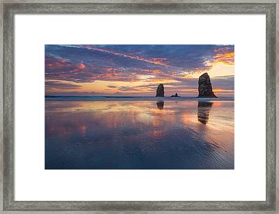 Framed Print featuring the photograph Reflections At Cannon Beach by Patricia Davidson