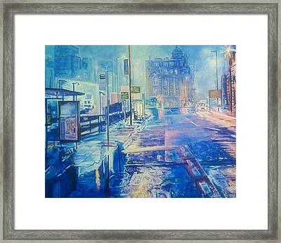 Reflections At Night In Manchester Framed Print
