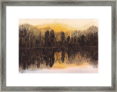 Reflections At Sunset On Bitely Lake Framed Print by Conni Schaftenaar