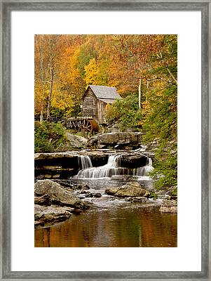 Reflections At The Glade Creek Grist Mill Framed Print by Gordon Ripley