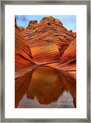 Reflections At The Wave Framed Print
