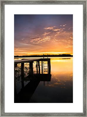 Reflections By The Dock Framed Print