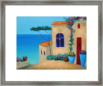 Framed Print featuring the painting Reflections By The Sea by Larry Cirigliano