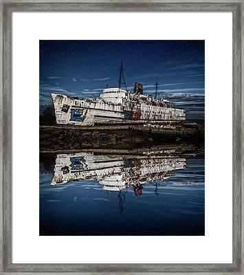 Reflections From The Duke Of Lancaster Ship  Framed Print