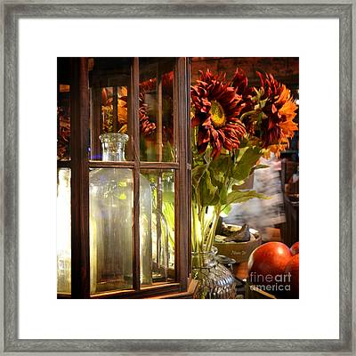 Reflections In A Glass Bottle Framed Print