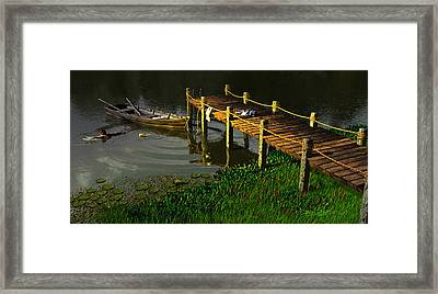 Reflections In A Restless Pond Framed Print by Dieter Carlton
