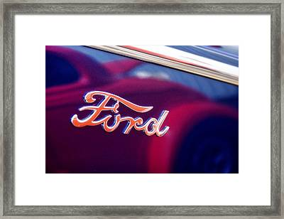 Reflections In An Old Ford Automobile Framed Print by Carol Leigh