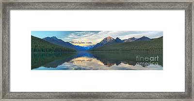 Reflections In Bowman Lake Framed Print by Adam Jewell