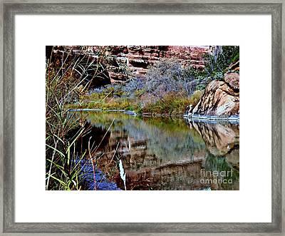 Reflections In Desert River Canyon Framed Print