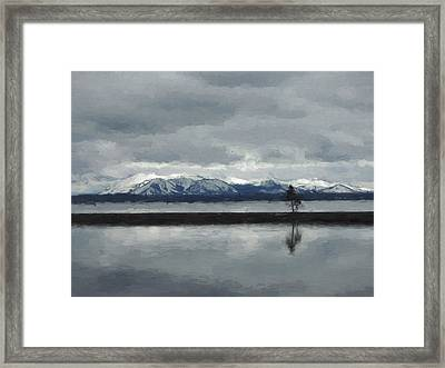 Reflections In Lake Yellowstone Framed Print
