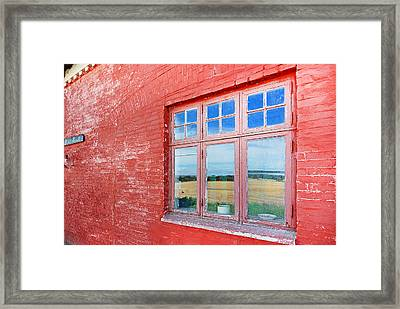 Reflections In The Old Mill House Window Framed Print