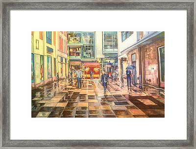 Reflections In The Pavement, Brown Street, Manchester Framed Print