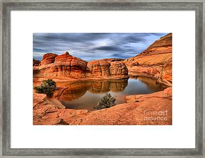 Reflections In The Red Rock Desert Framed Print by Adam Jewell