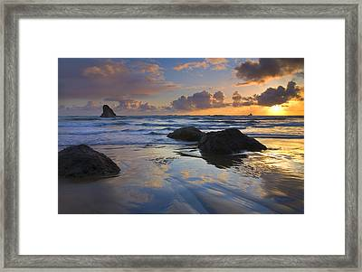 Reflections In The Sand Framed Print by Mike  Dawson