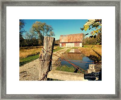 Reflections Of An Old Barn Brown County Indiana Framed Print by Scott D Van Osdol