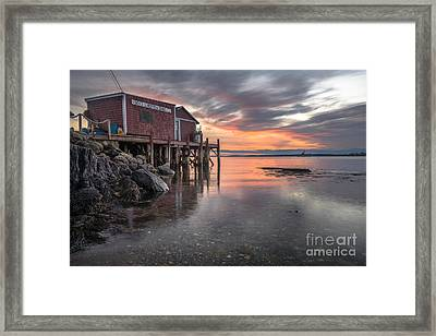 Reflections Of A Maine Fishing Shack Framed Print by Benjamin Williamson
