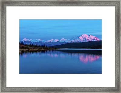 Sunset Reflections Of Denali In Wonder Lake Framed Print
