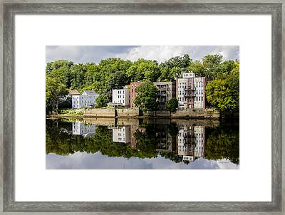 Reflections Of Haverhill On The Merrimack River Framed Print