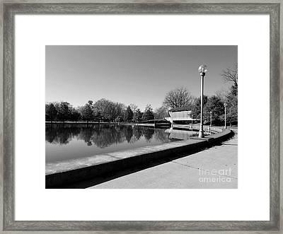 Reflections Of Round Lake - Black And White Framed Print by Scott D Van Osdol
