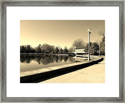 Reflections Of Round Lake - Sepia Framed Print by Scott D Van Osdol