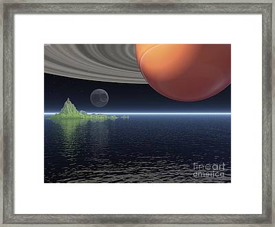 Framed Print featuring the digital art Reflections Of Saturn by Phil Perkins