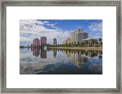 Reflections Of West Palm Beach Framed Print by Debra and Dave Vanderlaan