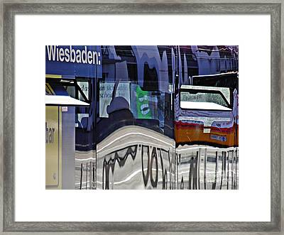 Reflections On  A Bus In Mainz 1  Framed Print