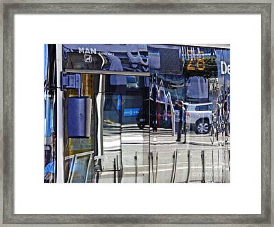 Reflections On  A Bus In Mainz 2 Framed Print