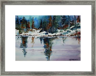 Reflections On A Frozen Pond Framed Print by Wilfred McOstrich