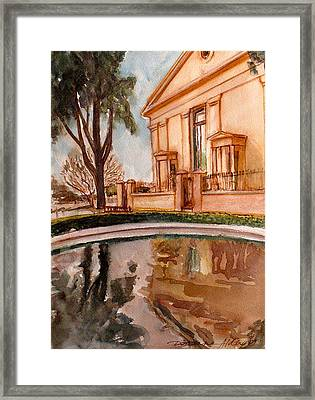 Reflections On A Rainy Day Framed Print by Doranne Alden