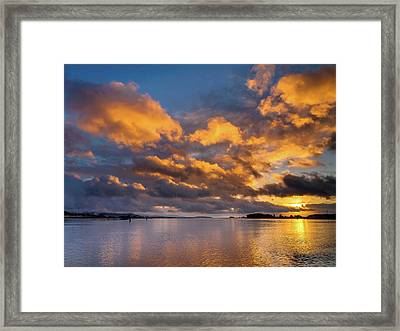 Reflections On Fire Sunset Framed Print by Greg Nyquist