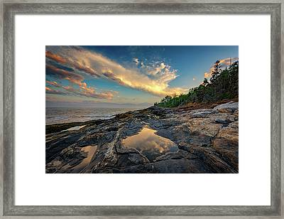 Reflections On Muscongus Bay Framed Print by Rick Berk