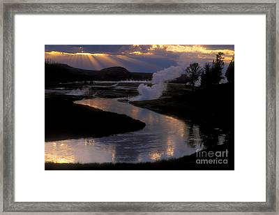 Reflections On The Firehole River Framed Print by Sandra Bronstein
