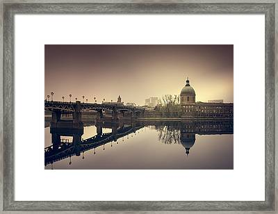 Reflections On The Garonne In Toulouse Framed Print by Mickael PLICHARD