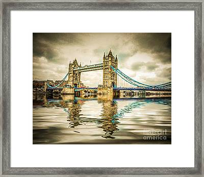 Reflections On Tower Bridge Framed Print by TK Goforth