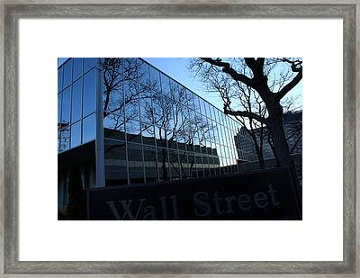 Reflections On Wall Street Framed Print by Lois Lepisto
