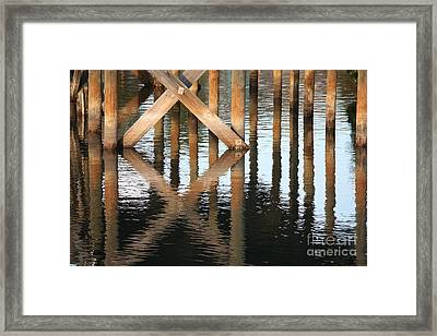 Reflections Under The Dock Framed Print