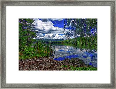 Framed Print featuring the painting Reflective Lake by Joan Reese