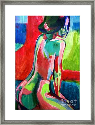 Reflective Seated Nude Framed Print