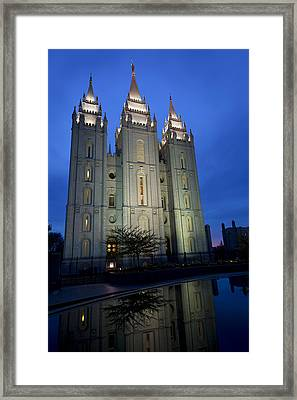 Reflective Temple Framed Print by Chad Dutson